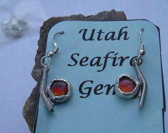 Bright Red, Green and Yellow Utah Ammolite .925 Fine Sterling Silver Jewelry Pebble Earrings 032G