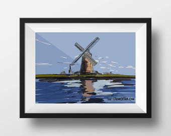 Original digital art print: 'Dutch Windmill' (A3 framed)