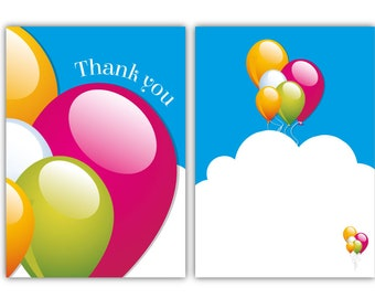 Thank you cards - Colourful Balloon Design - 24 x A6 postcard size cards - suitable for any celebration! (With envelopes)