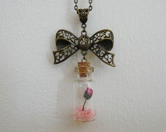 Bronze Chain and Ribbon Pendant with a Pink Rose & Pink Rocks in a Bottle - Custom Necklace Jewelry