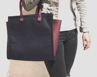 Stylish art leather bag / felt in many different colours and versions possible