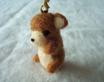 Needle felted miniature caramel teddy bear plush keychain