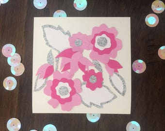 Floral card- Flower Greeting Card; Any Occasion Intricate Card; pink, white, silver. Handmade, with inside detail