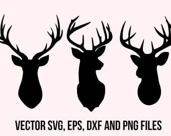 Deer Svg Clipart, Deer head svg, Deer dxf, Cuttable deers, Animals svg, Deer silhouette, Deer cut file, Printable deer horns svg for cricut
