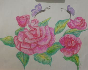 Floral Pastel Drawing