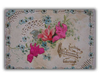 Antique Post Card Old Romantic Post Card From Germany Silk Embossed Openwork