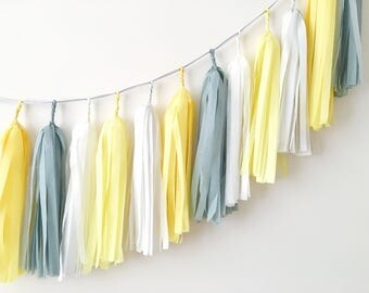 Yellow Gray Tissue Tassel Garland Baby Boy Second Birthday Baby Shower Yellow Gray Wedding Balloon Tassel Cake Smash Backdrop Bridal Shower