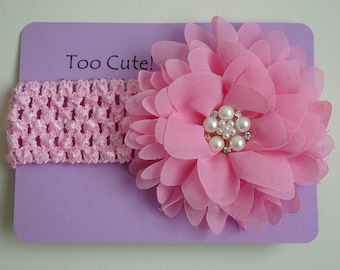 Pink Floral Headband with Pearl and Rhinestone Embellishment