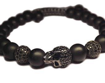 Shamballa black skull bracelet