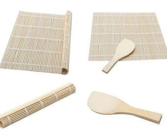 Bamboo Sushi Rolling Mat with Rice Spoon Japanese Nori Maki Maker