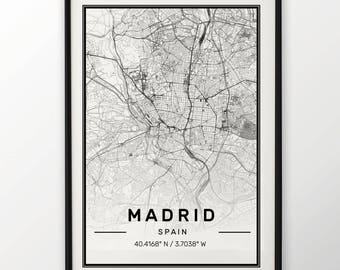 Madrid City Map Print, Modern Contemporary poster in sizes 50x70 fit for Ikea frame All city available London, New york Paris Madrid Rome
