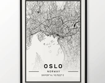Oslo City Map Print, Modern Contemporary poster in sizes 50x70 fit for Ikea frame All city available London, New york Paris Madrid Rome