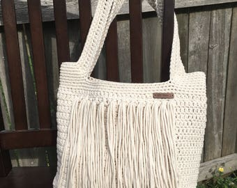 Crochet fringe cream cotton tote