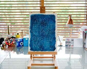 Original Watercolour Galaxy A3 Alphabet, Nursery Art, One-of-a-kind Artwork