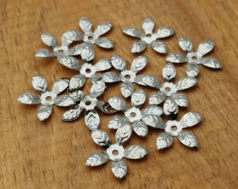 Silver Plated Bead Cap, Stamped Flower Petal, 30