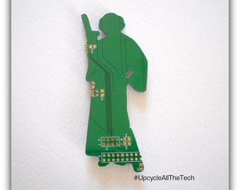 Star Wars Princess Leia Silhouette Cut Out of Recycled Circuit Board - Choose Option: Magnet, Pin or Hanging Ornament?