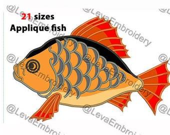 Fish  Applique Design. Machine embroidery design. 21 sizes. Fish embroidery design. Fish applique. Machine embroidery Fish.
