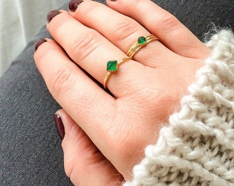 Emerald ring | 14k gold filled