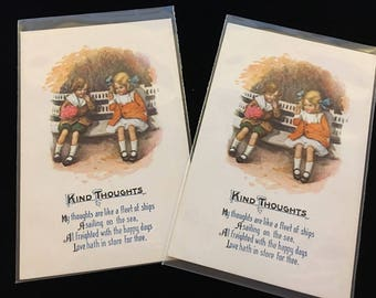 """Vintage Postcard """"All Occasion"""" KIND THOUGHTS with 2 Little Girls - Set of 2 postcards - unused 1910's"""