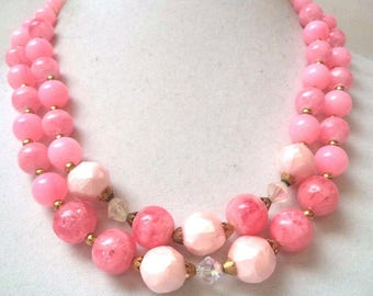 Fun and Lovely Double Strand Pink Beaded Necklace