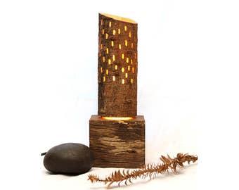 Bunya Lamp_5 // wooden lamp // night light // mood lighting // salvaged timber