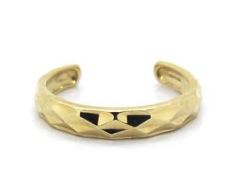14K Yellow Gold Adjustable Full Diamond-Cut Band Toe Ring
