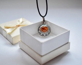 Baltic Amber Jewelry Cognac Pendant, Amber Necklace Pendant, Natural Amber Pendant, Silver Pendant 925, Leather chain
