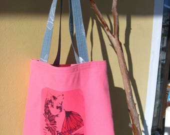 fuschia canvas tote with cat