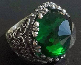 925 Sterling Silver Men's Ring with Absolutely Handmade Real Precious Emerald