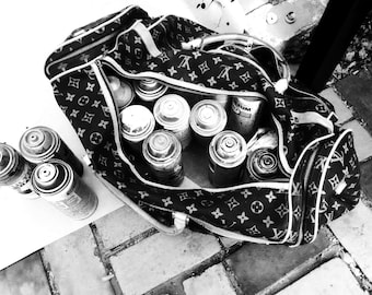 Graffiti Photo Print - LTG's LV Spray Can Bag - B&W Print