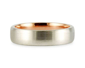Solid 6mm 14k Two Tone White Rose Gold Brush Satin Finish Comfort Fit Wedding Band Ring // His Hers // All Sizes