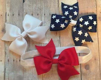 Bow Set W/ Headband, Baby Headband, Patriotic