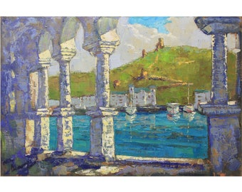 IMPRESSIONISM Original artwork Summer landscape PLEIN AIR Oil painting Bright Seascape Boats art Home decor Oil on canvas by A. Onipchenko