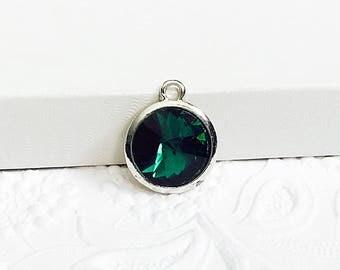 2 Birthstone Charms, Emerald Green Birthstone, May Birthstone, 20mm x 17mm, CRGL008