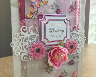 Beautiful Handmade, Spring, Happy Birthday Card, for her, mom, flowers, wife, daughter, sister, luxury, butterfly, elegant