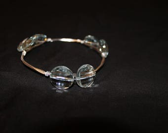 Sky Blue and Silver Wire Bangle