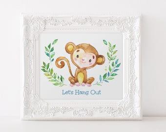 Monkey Print, Zoo Print, African Animal Print, Safari Nursery Decor, Let's Hang Out Print, Safari Animal Zoo Print, Nursery Quote Print