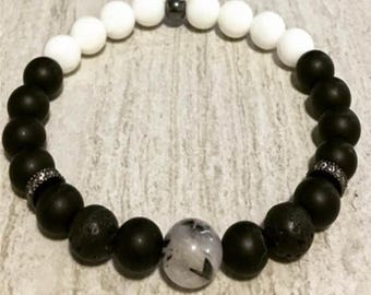 10mm Scenery Picture Jasper  8 mm Matte Black Onyx  Lava Rock  8mm Mother of Pearl black