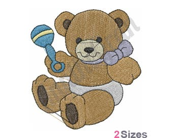 Teddy Bear With Rattle - Machine Embroidery Design