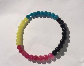 Bright multi colored beaded bracelet