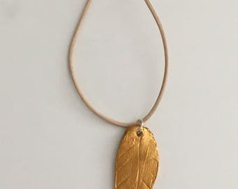 Feather Clay Pendant Necklace