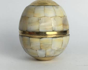 Brass and mother of pearl egg storage box