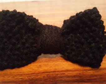 Black Knitted Bow Hair Clip