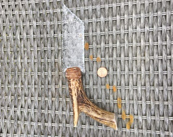 deer antler handle hand knapped glass knife