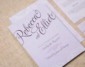 Contemporary Modern Vintage Lace Wedding Invitation
