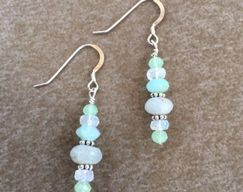 Faceted Natural Peruvian Opal & Moonstone Sterling Silver Earrings