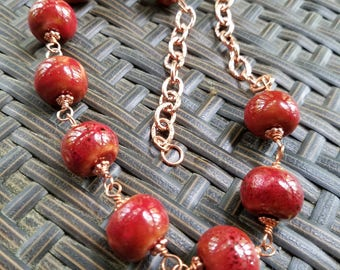 Red Ceramic and Copper Chain Necklace