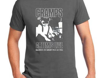 Original Cramps Punk Flier Artwork designed in 1978, silkscreened in white ink on a 100% cotton charcoal T Shirt