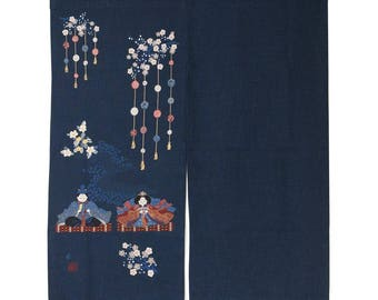 Japanese Noren Curtain Tapestry Cotton Handmade By Japanese Craftsman Hina  Dolls U0026 Flowers Unevenly Dyed Thread