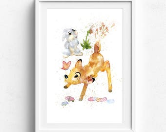 Bambi print, bambi watercolor, disney print, bambi disney, disney art print, baby animal print, printable watercolor, animal print nursery